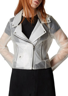Blank Plastic Zip-Up Moto Jacket