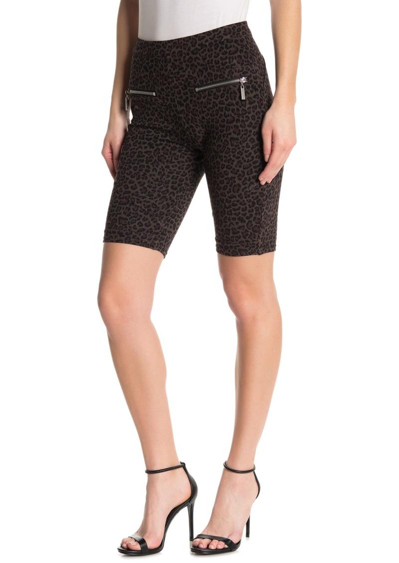 Blank Ponte Leopard Print Biker Shorts