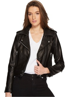 Blank Real Leather Moto Jacket in Black Smoke