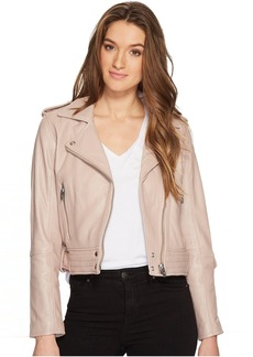 Real Leather Moto Jacket in Rose Dust