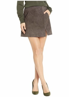 Blank Real Suede Mini Skirt in French Grey