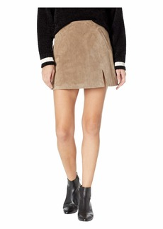 Blank Real Suede Mini Skirt in French Taupe