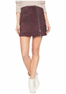 Blank Real Suede Mini Skirt with Zipper Detail in Blackberry