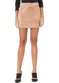 Blank Real Suede Miniskirt with Belt