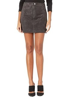 Blank Real Suede Miniskirt with Zipper Front Detail