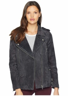 Blank Real Suede Moto Jacket in Dark and Stormy