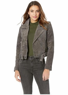 Blank Real Suede Moto Jacket in French Grey