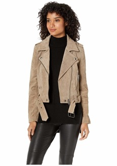 Blank Real Suede Moto Jacket in French Taupe