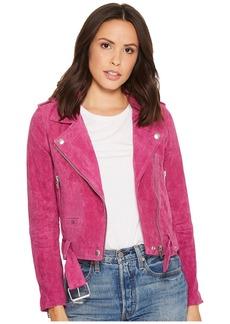 Blank Real Suede Moto Jacket in Fuchsia