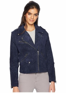 Blank Real Suede Moto Jacket in Starry Night