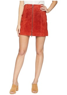 Blank Red Suede Zippered Mini Skirt in Redwood