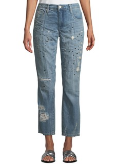Blank Secret Weapon Distressed Studded Straight-Leg Jeans