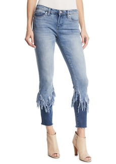 Blank Return To Sender Two-Tone Cropped Fringe Skinny Jeans