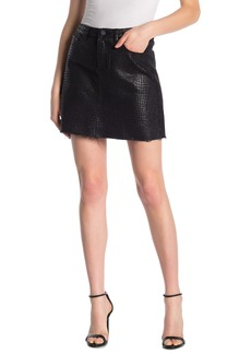 Blank Snake Print Raw Hem Mini Skirt