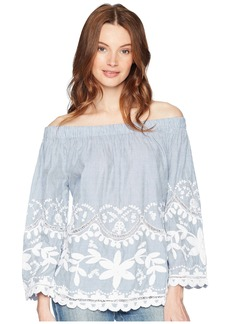 Blank Striped Cotton Voile Off Shoulder Top with Embroidery