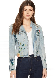 Blank Studded Floral Moto Jacket in Sea of Flowers