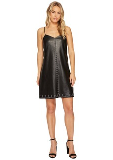 Blank Studded Vegan Leather Slip Dress in Close The Deal