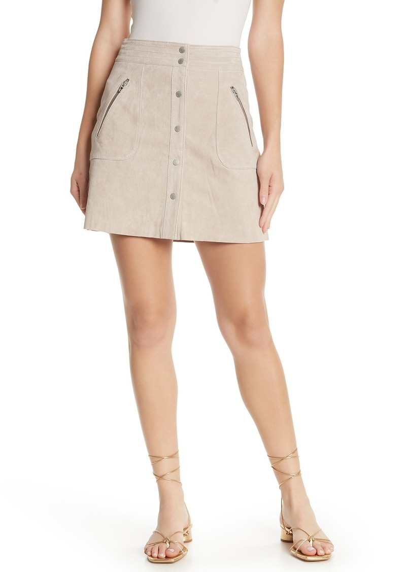 Blank Suede Button Front Mini Skirt