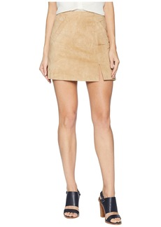 Blank Suede Mini Skirt with Side Slit in Venice Beach