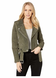 Blank Suede Moto Jacket in Herb