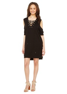 Blank Sweatshirt Dress with Lace Detailing in Cold Shoulder