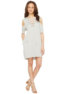 Blank Sweatshirt Dress with Lace Detailing in Negative Space