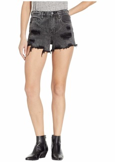 Blank The Barrow High-Rise Washed Out Distressed Shorts in Stormi