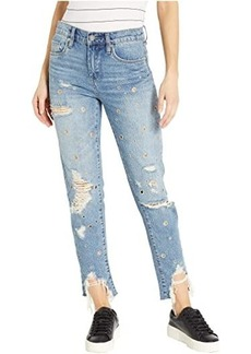 Blank The Rivington High-Rise Tapered Distressed Jeans with Grommets in Bohemian Rap City