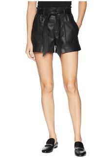 Blank Vegan Leather Belted Shorts in Dark Web