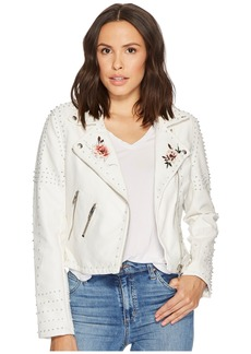 Blank Vegan Leather Floral Jacket in Full Bloom
