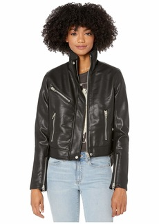 Blank Vegan Leather High Collar Moto Jacket