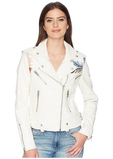 Blank Vegan Leather Jacket with Palm Tree Embroidery in Palm Breeze