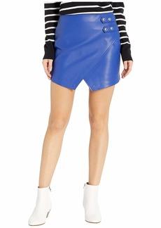 Blank Vegan Leather Mini Skirt in Blue My Mind