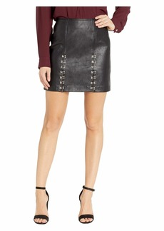 Blank Vegan Leather Mini Skirt with Hook and Eye Detail in Limitless