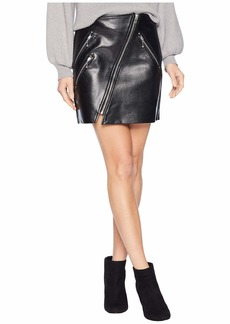 Blank Vegan Leather Mini Skirt with Zipper Detail in House Party
