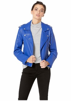 Blank Vegan Leather Moto Jacket in Blue My Mind