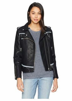 Blank Vegan Leather Moto Jacket with Denim Detail in Thrasher