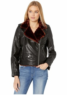 Blank Vegan Leather Moto Jacket with Faux Fur Lining