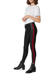 Blank Vegan Leather Pull-On Leggings with Side Stripes