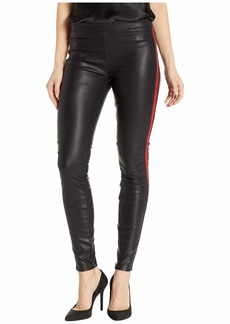 Blank Vegan Leather Pull-On Skinny with Red Striping Detail in Light My Fire