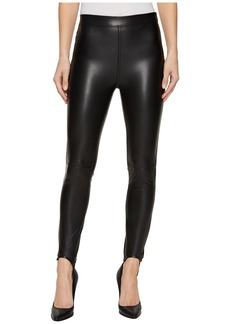 Blank Vegan Leather Pull-On Stirrup Leggings in Black Mail