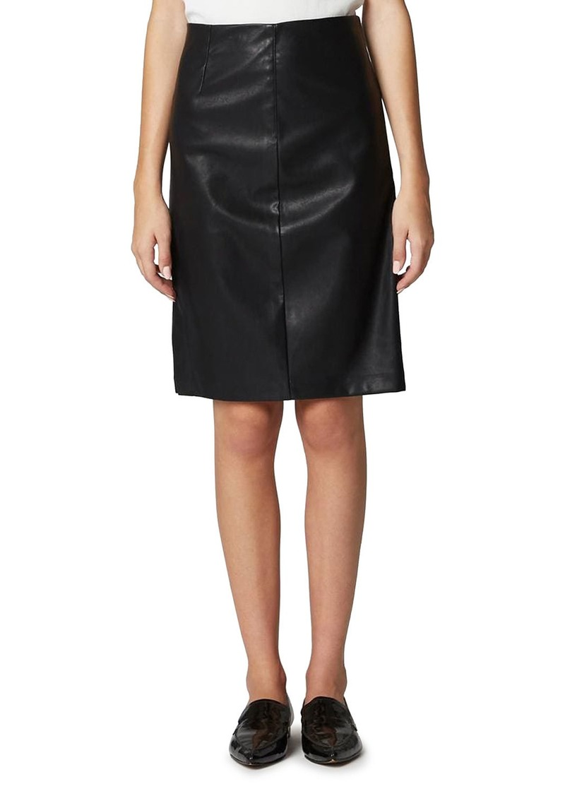 Blank Vegan Leather Side-Split Pencil Skirt