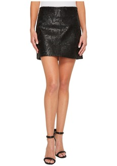 Blank Vegan Leather Skirt with Sequin and Embroidery in Hide and Sequin