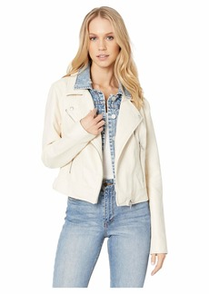 Blank White Vegan Leather Jacket with Denim Insert in Ghost Town