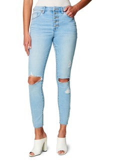 Women's Blanknyc Great Jones High Waist Ripped Raw Hem Skinny Jeans