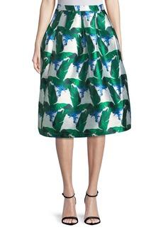 Blaque Label Leaf-Print Mikado A-Line Midi Skirt