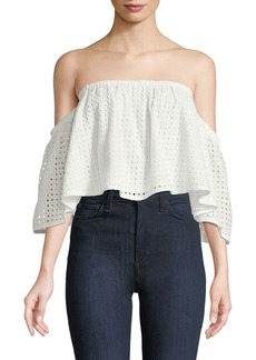 Blaque Label Off-the-Shoulder Eyelet Lace Crop Blouse