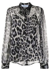Blumarine animal-print sheer shirt