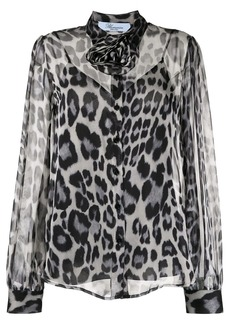 Blumarine animal-print sheer shirt