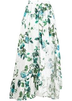 Blumarine asymmetric ruffled floral print skirt